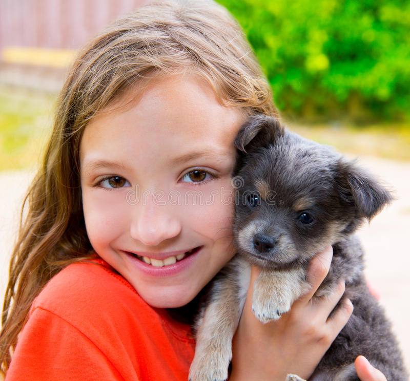 Download Beautiful Kid Girl Portrait With Puppy Chihuahua Doggy Stock Image - Image: 31370569