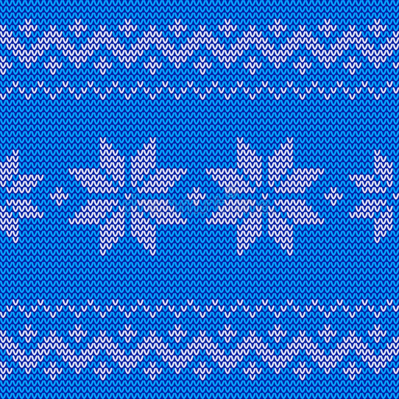 Beautiful knitted blue jacquard seamless pattern with flowers. royalty free illustration