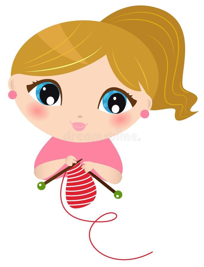 Download Beautiful knitting Girl stock vector. Image of handmade - 29050030