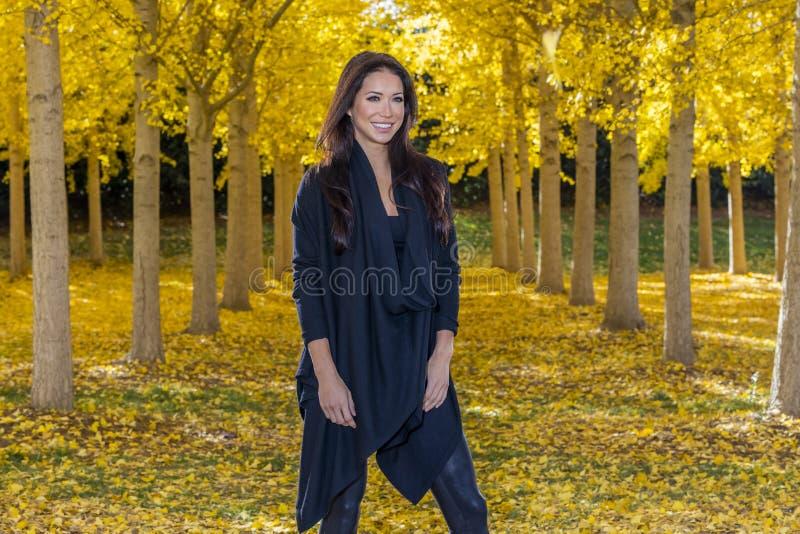 Beautiful Korean Brunette Model Posing In A Field Of Yellow Leav royalty free stock image
