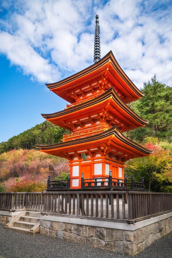 Beautiful Koyasu Pagoda at Kiyomizu temple surrounded by autumn colors in Kyoto, Japan royalty free stock images