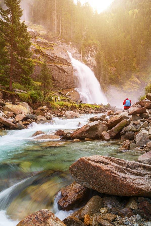 Beautiful Krimml waterfall and mountain stream on Tauern Nation. Al park in Austria stock photos