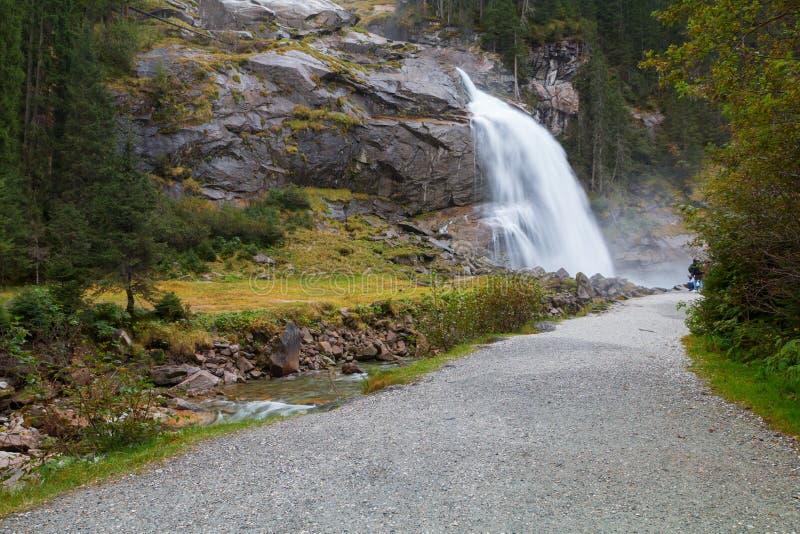 Beautiful Krimml waterfall and mountain stream on Tauern Nation. Al park in Austria stock photo