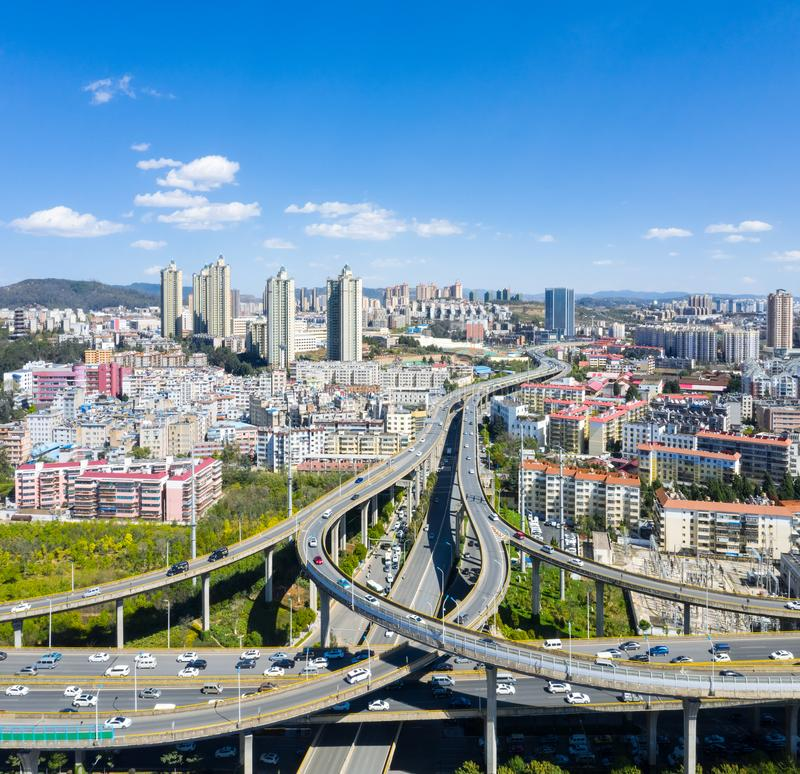 Beautiful  kunming city and overpass. Overpass and winding road in beautiful  kunming city, yunnan, China royalty free stock photos