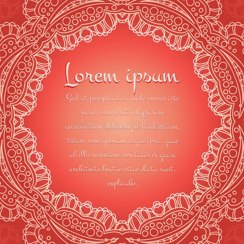 Beautiful lacy white tablecloth, doily on a coral background.Vintage decorative elements. Islam, Arabic, Indian, ottoman motifs. stock illustration