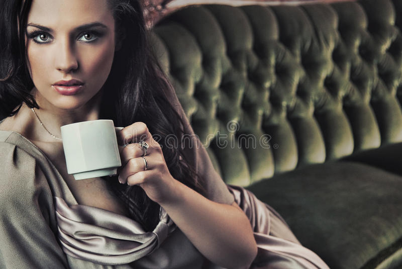 Download Beautiful lady stock image. Image of beauty, couch, cappuccino - 14516883