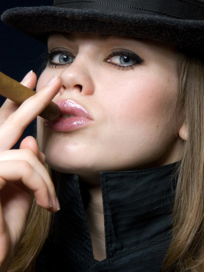 Download Beautiful Lady In Black And A Cigar Stock Image - Image: 12944527