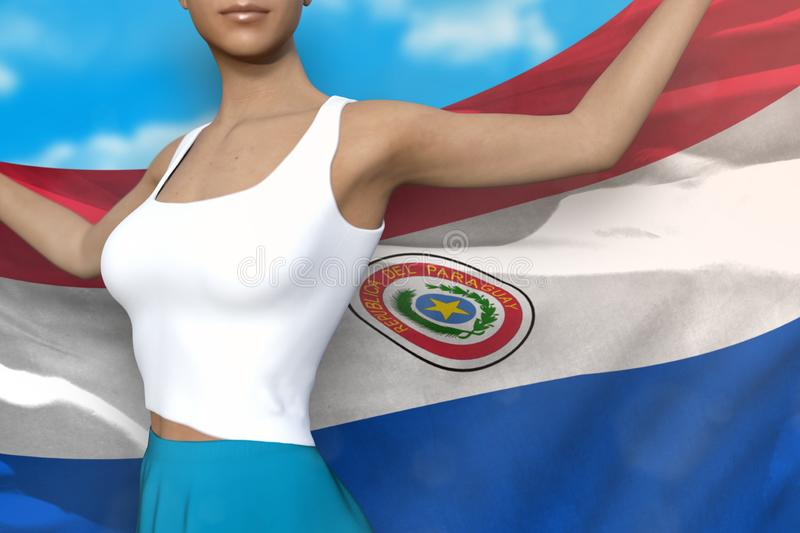 Lady in bright skirt holds Paraguay flag in hands behind her back on the cloudy sky background - flag concept 3d illustration. Beautiful lady in bright skirt is royalty free illustration