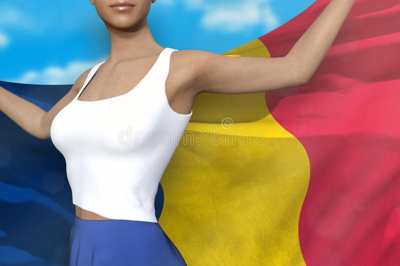 Beautiful lady in bright skirt holds Chad flag in hands behind her back on the cloudy sky background - flag concept 3d. Pretty girl in bright skirt is holding stock illustration