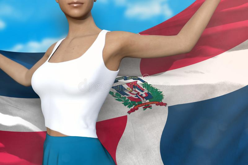 Beautiful lady in bright skirt holds Dominican Republic flag in hands behind her back on the cloudy sky background - flag concept. Sexy lady in bright skirt is royalty free illustration