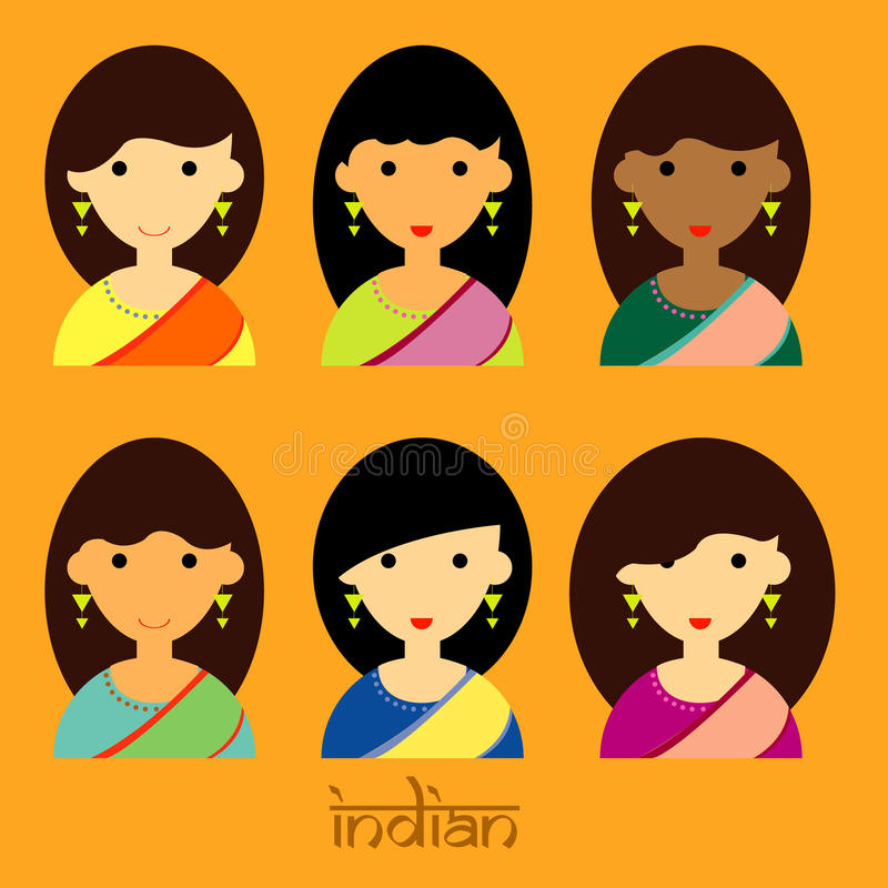 The beautiful lady characters of Indian set vector and long hair style stock photos