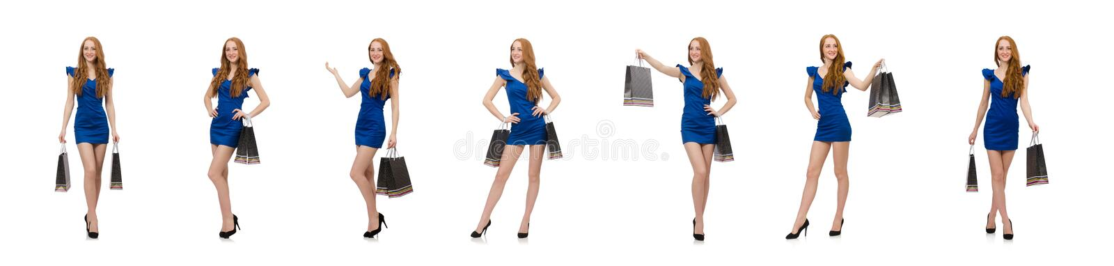 Beautiful lady in dark blue dress isolated on white royalty free stock image