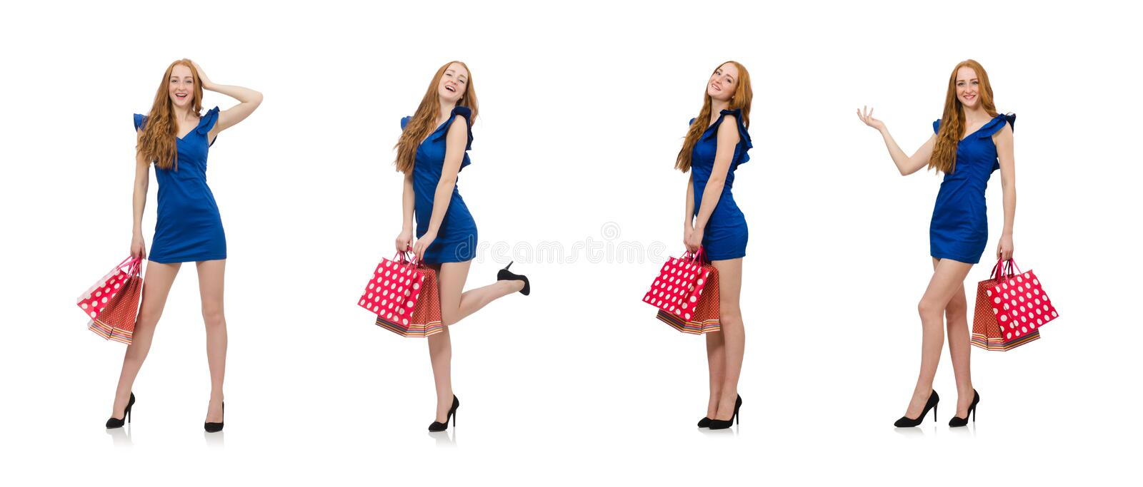 Beautiful lady in dark blue dress isolated on white royalty free stock photography