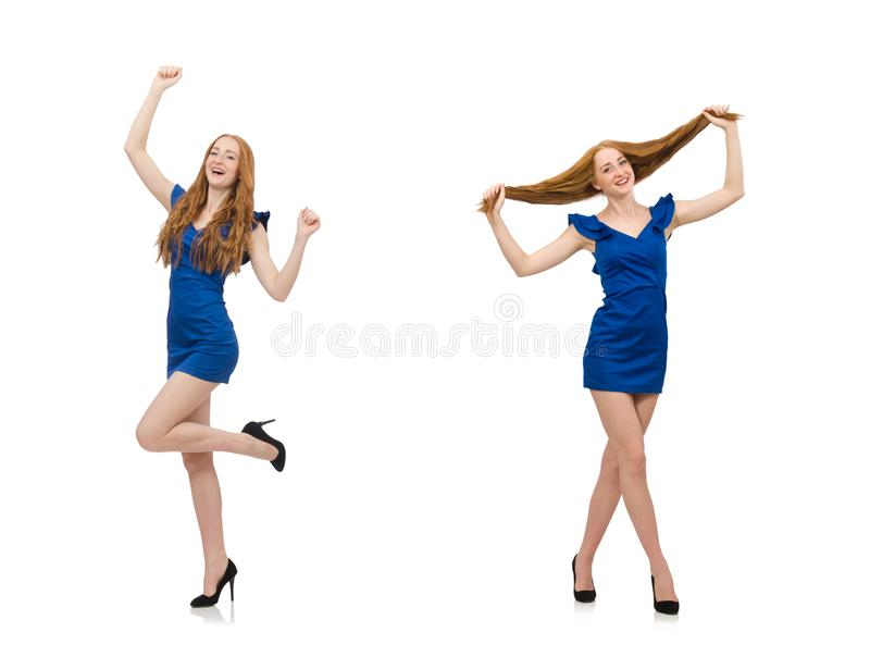 Beautiful lady in dark blue dress isolated on white stock image