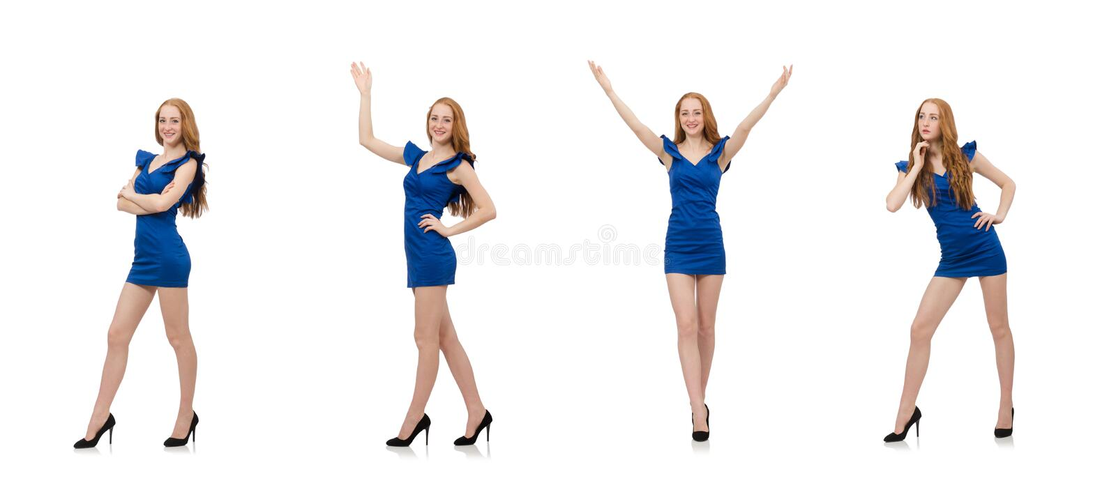 Beautiful lady in dark blue dress isolated on white stock photos