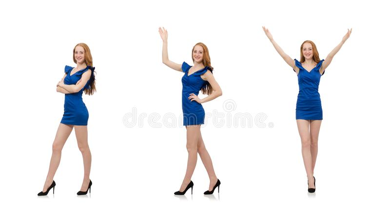 Beautiful lady in dark blue dress isolated on white stock photography