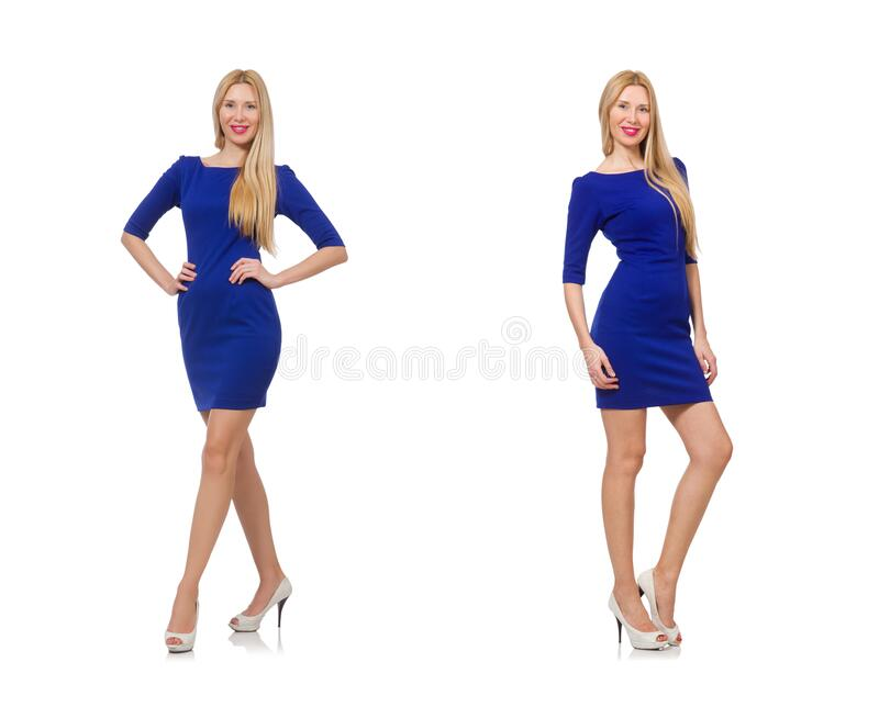Beautiful lady in dark blue dress isolated on white stock images