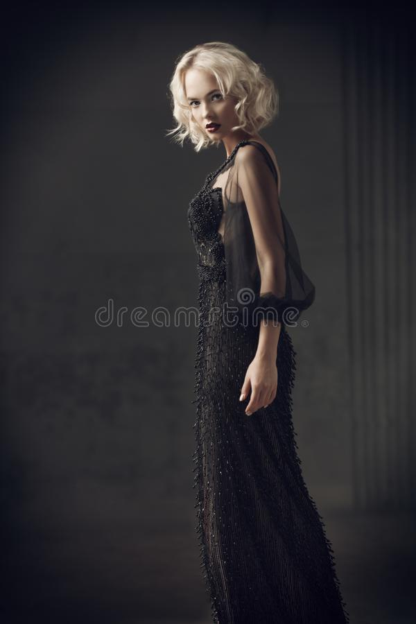 Beautiful lady in dress stock photos