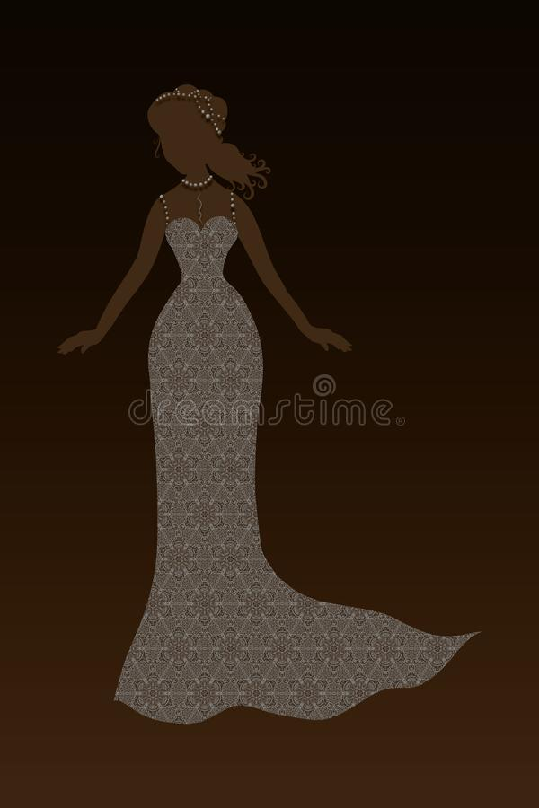 Beautiful lady in an elegant lace dress and pearls, splendor vector illustration