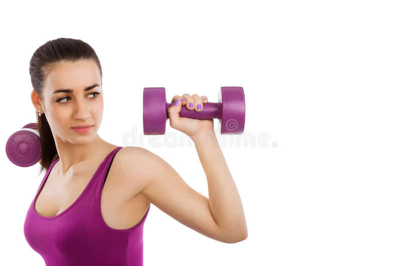 Beautiful lady fitness with copy space. royalty free stock photo