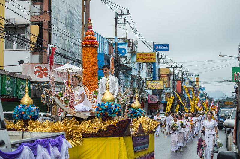 Beautiful lady on the float and paraded around Chiang Rai town. Chiang Rai, Thailand - July 26, 2018 : Candle Festival Parades are paraded around Chiang Rai stock photo