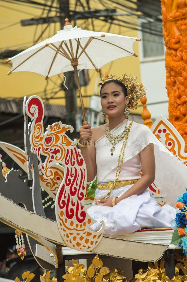 Beautiful lady on the float paraded around Chiang Rai town. Chiang Rai, Thailand - July 26, 2018 : Candle Festival Parades are paraded around Chiang Rai town stock photos