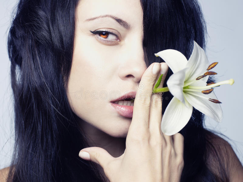 Download Beautiful Lady With Flowers Stock Image - Image: 21640521