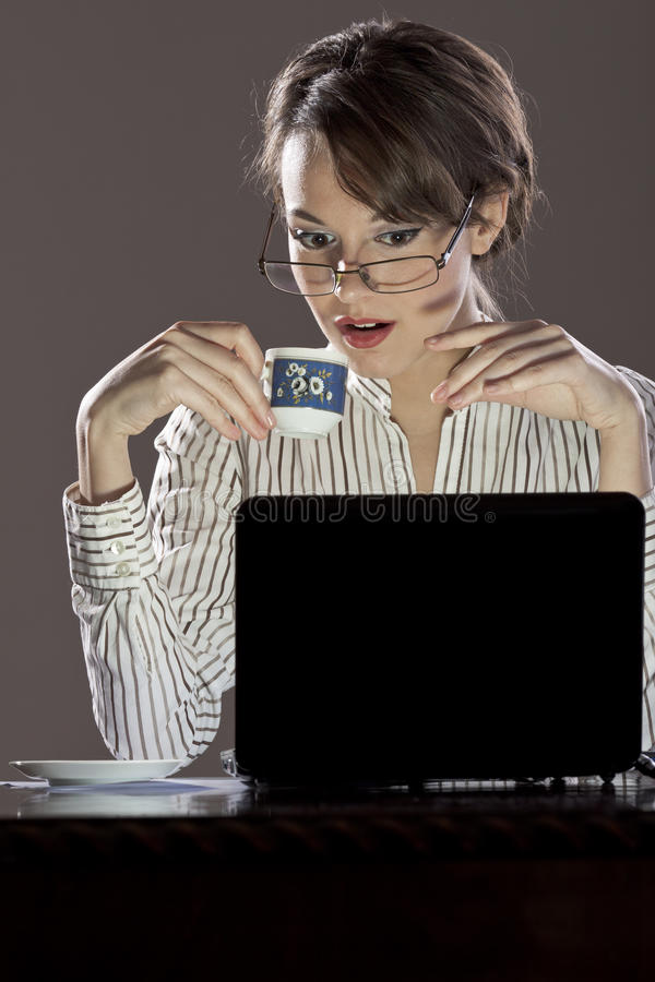 Beautiful lady getting info royalty free stock photography