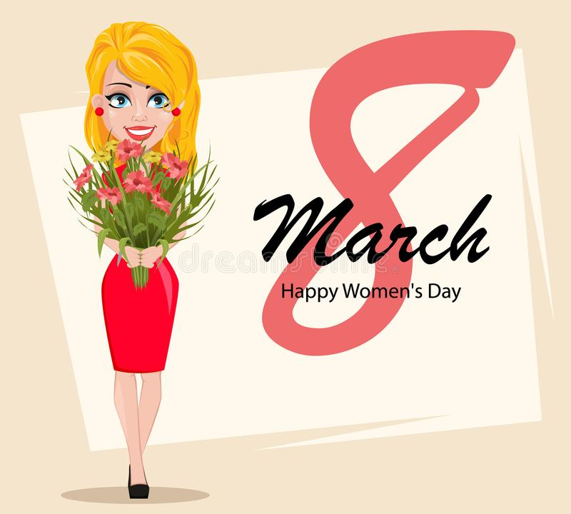 Beautiful lady holding a bouquet of flowers. Postcard to the 8th of March Women`s Day. Greeting words and beautiful lady holding a bouquet of flowers. Vector stock illustration