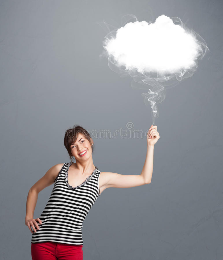 Download Beautiful Lady Holding Cloud Stock Photo - Image of icon, beauty: 28063206
