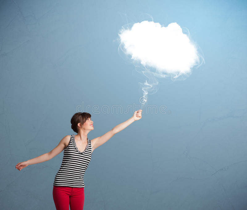 Download Beautiful Lady Holding Cloud Stock Image - Image of excitement, cloud: 29459509