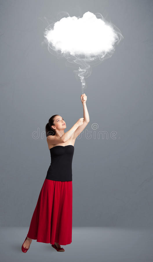 Download Beautiful Lady Holding Cloud Stock Image - Image of girl, baloon: 35194091