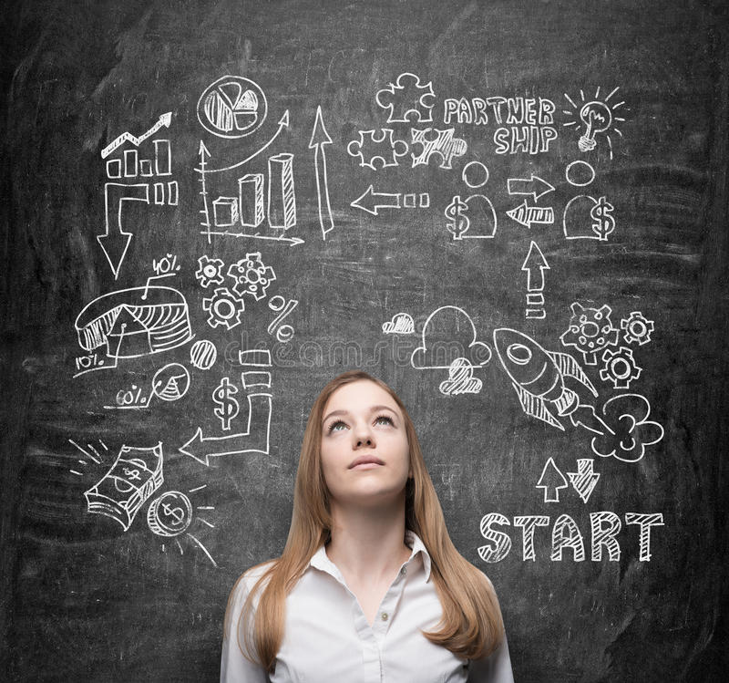 Free Beautiful Lady Is Thinking About Business Opportunities. A Concept Of Brainstorm. Business Icons Are Drawn Behind The Person Royalty Free Stock Photography - 57988847