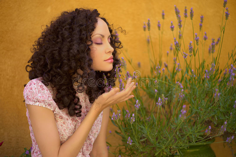 Beautiful lady with lavender stock photo