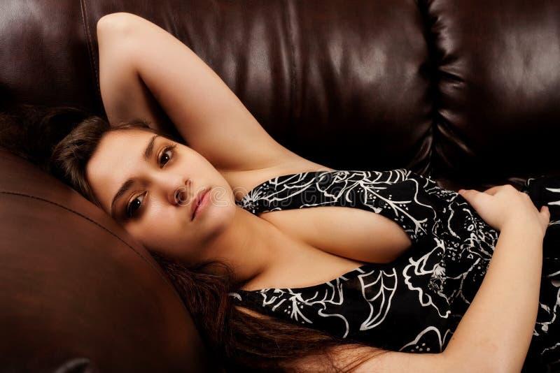 Download Beautiful Lady On Leather Sofa Stock Image - Image: 13183419