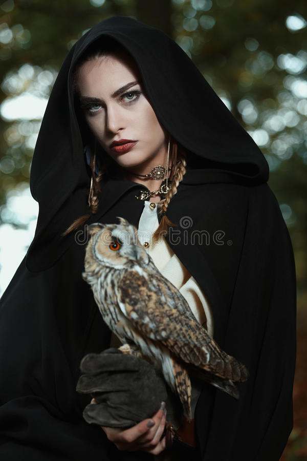 Beautiful lady of the owls stock photo
