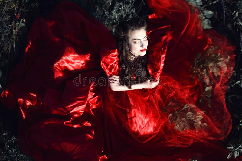 Beautiful lady with perfect make up and hairstyle wearing luxurious silk red ballroom dress sitting in the field with closed eyes. And crossed arms. The skirt stock photo