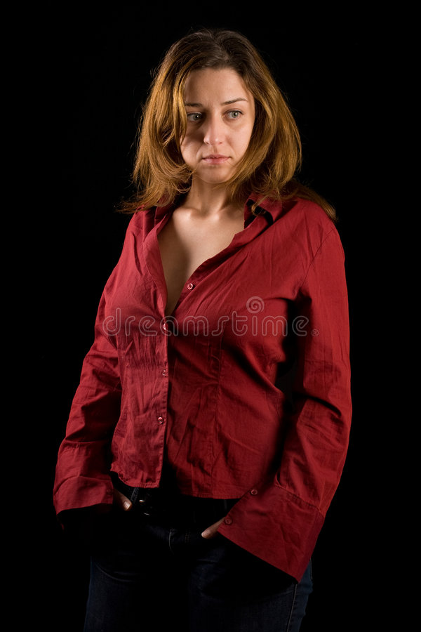 Download Beautiful Lady With Red Shirt And Jeans Stock Image - Image: 7110879