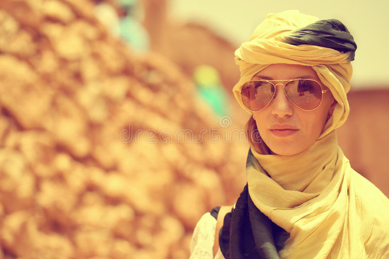 Beautiful lady with scarf royalty free stock images