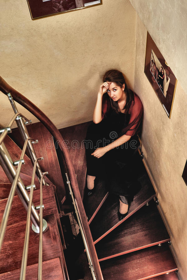Download Beautiful Lady on Stairway stock image. Image of elegant - 24131473