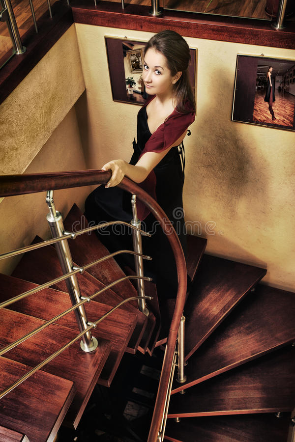 Download Beautiful Lady on Stairway stock photo. Image of beauty - 24234948