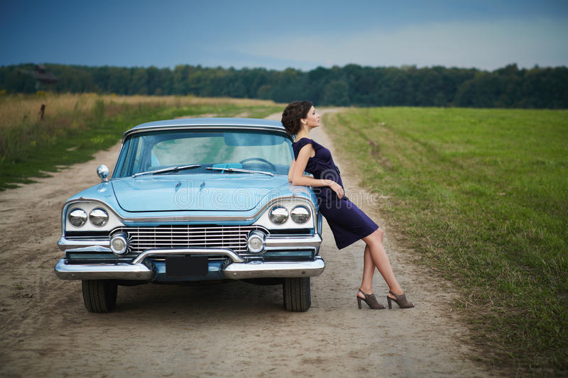 Download Beautiful Lady Standing Near Retro Car Royalty Free Stock Photography - Image: 23842857