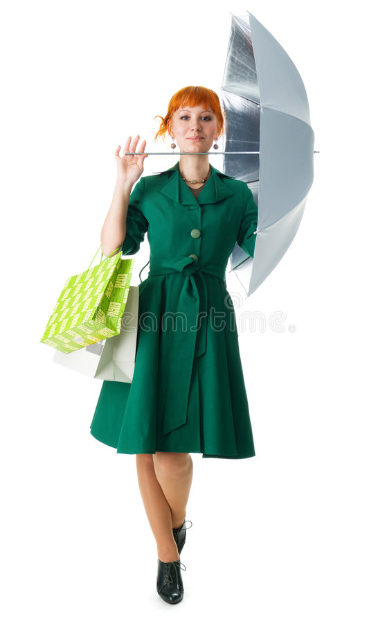 Beautiful Lady With An Umbrella Royalty Free Stock Photography