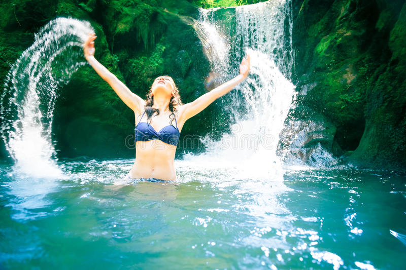Download Beautiful Lady By The Waterfall Stock Image - Image: 83700213