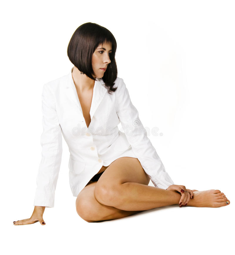Beautiful lady in white coat