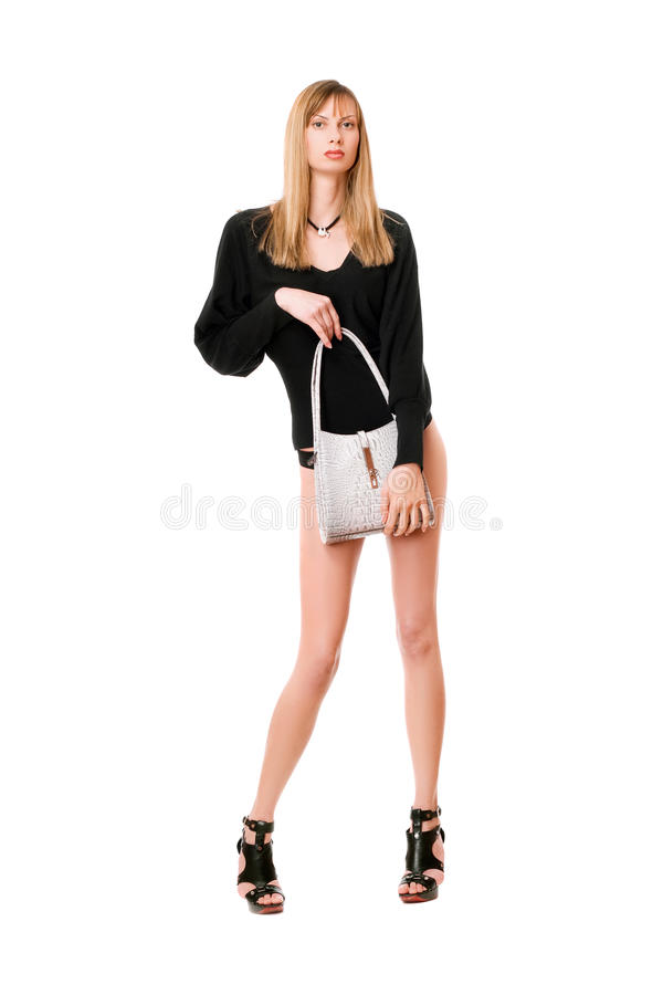Beautiful lady with the white purse stock images