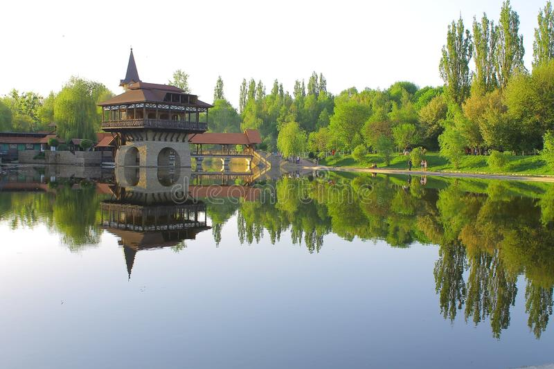 Beautiful lakе. Spring. Look how beautiful late spring! Nature is beautiful! Perfect harmony with the building stock photo