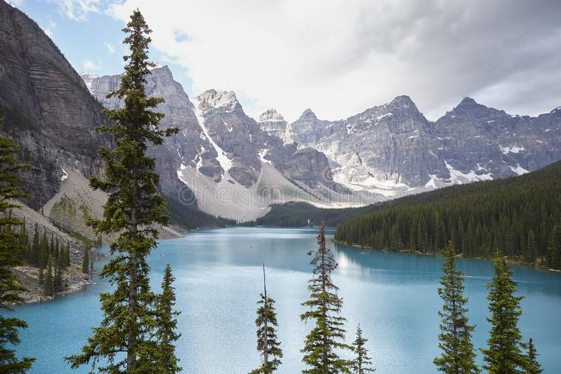 Beautiful Lake In Alaska Surrounded By Mountains And Forests royalty free stock photography