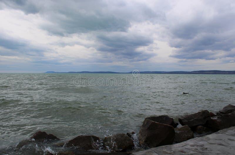 Beautiful Lake Balaton with clouds. Beautiful Lake Balaton, view from Balatonfoldvar stock photography