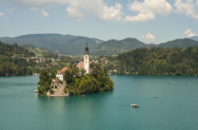 Beautiful lake Bled and an island with a church royalty free stock photo